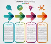 Vector Arrows 4 Steps Timeline Infographics Template Step By Step, Diagram Chart, Graph Presentation poster