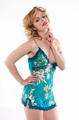 stock photo of camisole  - Beautiful young blonde in a teal camisole - JPG