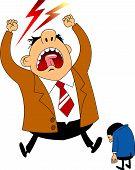 Big Boss Angry Businessman Was Asleep During Work. Cartoon Vector Illustration poster