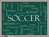 Soccer Word Cloud Concept On A Blackboard