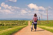 Cycling In Countryside. Lifestyle Concept. Hipster Woman Cycling In Countryside. Healthy Lifestyle.  poster