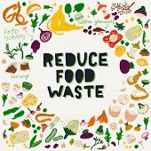 Reduce Food Waste Hand Lettering Call To Action In A Frame Made Of Food Scraps. Eco-friendly Zero Wa poster