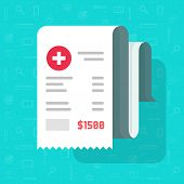 Medical Receipt Or Bill Vector Illustration, Flat Cartoon Paper Medicine Or Pharmacy Cheque, Idea Of poster