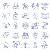 Donation And Charity Icons Line Big Set. Money And Blood, Food Donation. Editable Stroke. Vector Ill poster