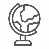 Table Globe Line Icon, Education And Geography, World Map Sign, Vector Graphics, A Linear Pattern On poster