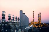 Factory Of Oil And Gas Refinery Industrial Plant With Sunrise Sky Background, Petrochemical Industry poster