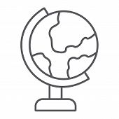 Table Globe Thin Line Icon, Education And Geography, World Map Sign, Vector Graphics, A Linear Patte poster