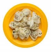Dumplings On A Yellow Plate Isolated On White Background .boiled Dumplings.meat Dumplings Top View . poster