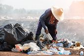 Editable Of Poor People Scavenging Recyclable Trash. Hand Holding Garbage Bottle Plastic Putting Int poster