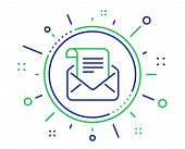 Mail Newsletter Line Icon. Read Message Correspondence Sign. E-mail Symbol. Quality Design Elements. poster
