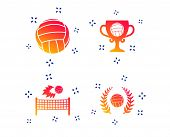Volleyball And Net Icons. Winner Award Cup And Laurel Wreath Symbols. Beach Sport Symbol. Random Dyn poster