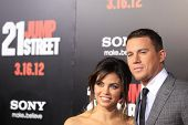 LOS ANGELES, CA - MAR 13: Channing Tatum, Jenna Dewan at the premiere of Columbia Pictures '21 Jump