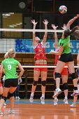KAPOSVAR, HUNGARY - FEBRUARY 3: Unidentified players in action at the Hungarian Championship volleyb