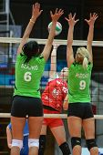 KAPOSVAR, HUNGARY - FEBRUARY 3: Karmen Kovacs (in red) in action at the Hungarian Championship volle