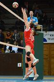 KAPOSVAR, HUNGARY - FEBRUARY 3: Kamilla Gyorbiro (red 6) in action at the Hungarian Championship vol