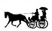 stock photo of stagecoach  - Illustration of couple on horse and carriage - JPG