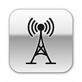 Black Antenna Icon Isolated On White Background. Radio Antenna Wireless. Technology And Network Sign poster