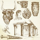 ancient crete - hand drawn collection