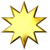 Постер, плакат: 3D Золотые 10 пунктов звезда