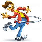 picture of hula hoop  - cartoon illustration of man playing hola hoop - JPG