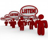 The word Listen in many speech bubbles spoken by people who are gathered to make their voices heard