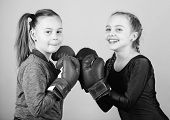 Girls Cute Boxers On Blue Background. Friendship As Battle And Competition. Pass Boxing Challenge. T poster