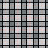Pixel Plaid in Grey with Red Stripe
