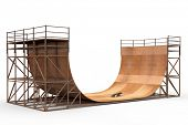 Wooden 3D halfpipe with skateboard isolated in white background