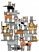 picture of overpopulation  - Vector illustration of a large cat family depicting pet overpopulation - JPG