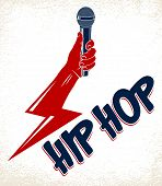 Rap Music Vector Logo Or Emblem With Microphone In Hand In A Shape Of Lightning Bolt, Hip Hop Rhymes poster