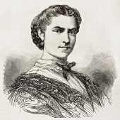 Mrs. Volpini de Villar old engraved portrait (Spanish singer). Created by Chenu, published on L'Illu