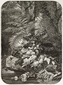 Flowers old illustration, after tablet of Robie, published on L'Illustration, Journal Universel, Par