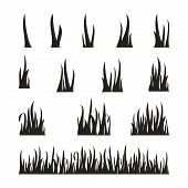 Set Of Grass Icon Vector Isolated On White Background, Grass Icons Vector Design Concept, Grass Vect poster
