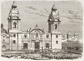 Cathedral of Lima old view, Peru (funeral procession of President Miguel San-Roman). After photo of