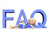 FAQ 3d letters and a cute toon guy presenting the text