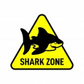 Shark Zone Sign. Shark Silhouette On Triangle poster
