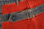 Corduroy Clothing With Denim Belt