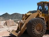picture of jcb  - Large yellow construction vehicle in a spanish quarry - JPG