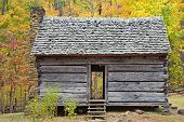 Old one room log cabin during Autumn in Smoky Mountains
