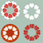 A Set Of Circular Love Heart Design Elements