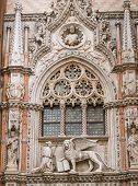Sculpture Of Doge And Lion On  One Of The Portals Of The Doge's Palace