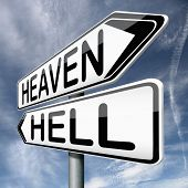 stock photo of hells angels  - heaven and hell devils and angels good or bad god or satan road sign arrow with text - JPG
