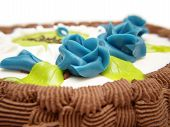 picture of baptism  - Baptism cake white sugar paste blue roses - JPG