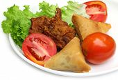 Samosa with mushroom snack with salad items