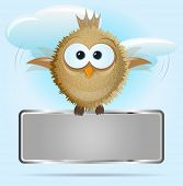 Vector background with a flying bird holding a board for text