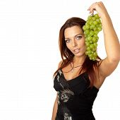 Beautiful Girl With Green Grapes