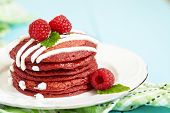 foto of red velvet cake  - Stack of Red Velvet Pancakes with Raspbery - JPG