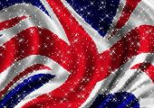 Starry Union Jack Billowing In Wind