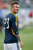 CARSON, CA - MAY 5: David Beckham warms up before the MLS game between the Los Angeles Galaxy and the New York Red Bulls on May 5th 2012 at the Home Depot Center in Carson, Ca.
