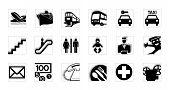 Service icon set black and white invert